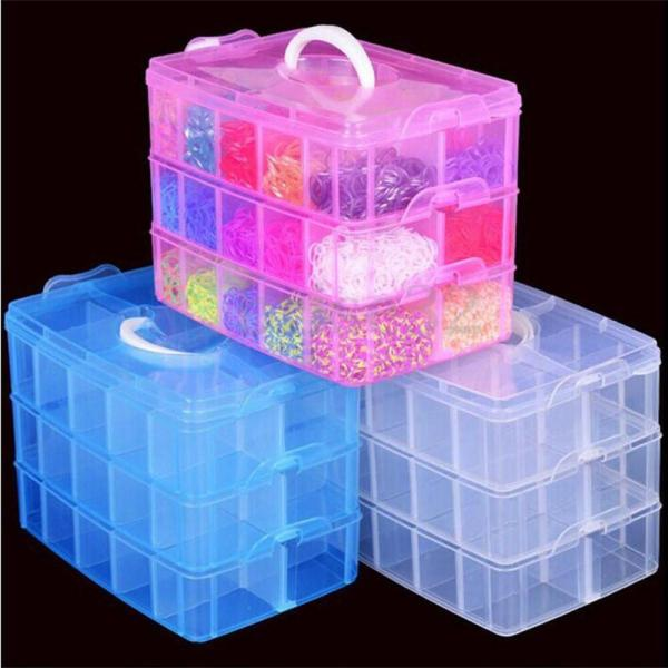 Clear Plastic Jewelry Bead Storage Box Container