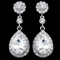 Long Crystal Drop Earrings Diamante Bridal Rhinestone ...