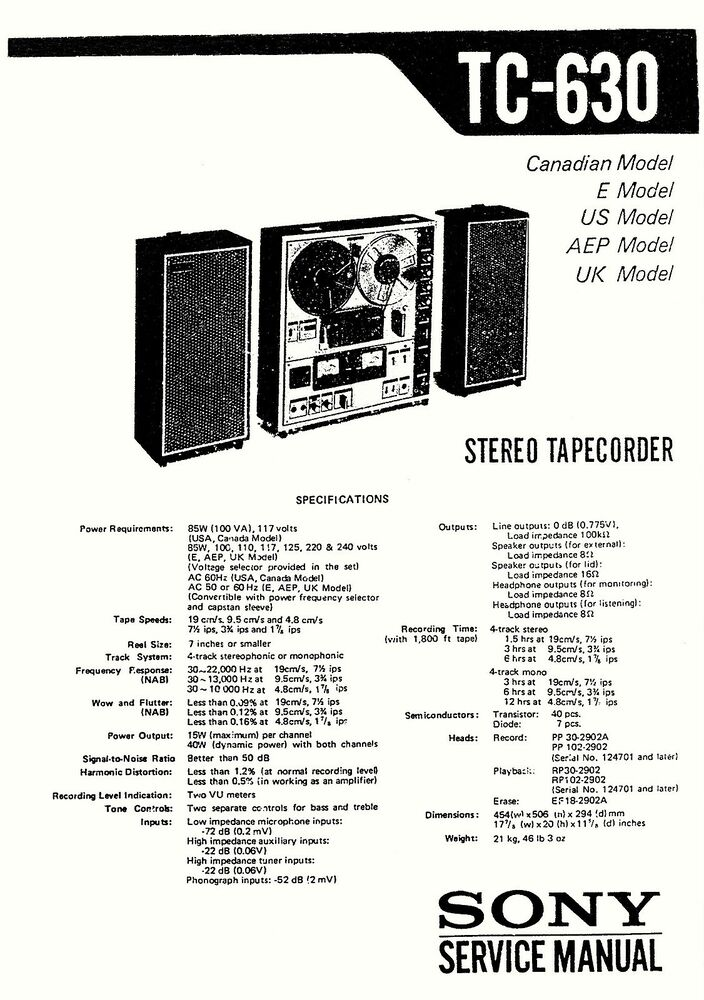 SONY TC-630 TAPE RECORDER SERVICE MANUAL 48 Pages US UK