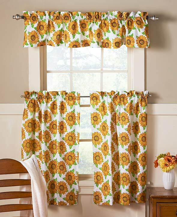 kitchen tier curtains diamond sink 3 pc spring sunflower cafe set curtain bright country ...