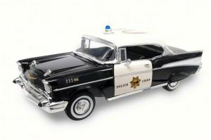 1957 Chevy Bel Air Police  Lucky 92107  118 Scale Diecast Model Toy Car 764072038353 | eBay