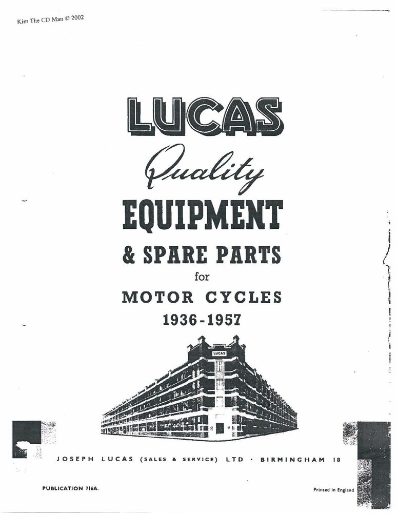 Lucas Parts Manual Book MATCHLESS 1936, 1937, 1938, 1939