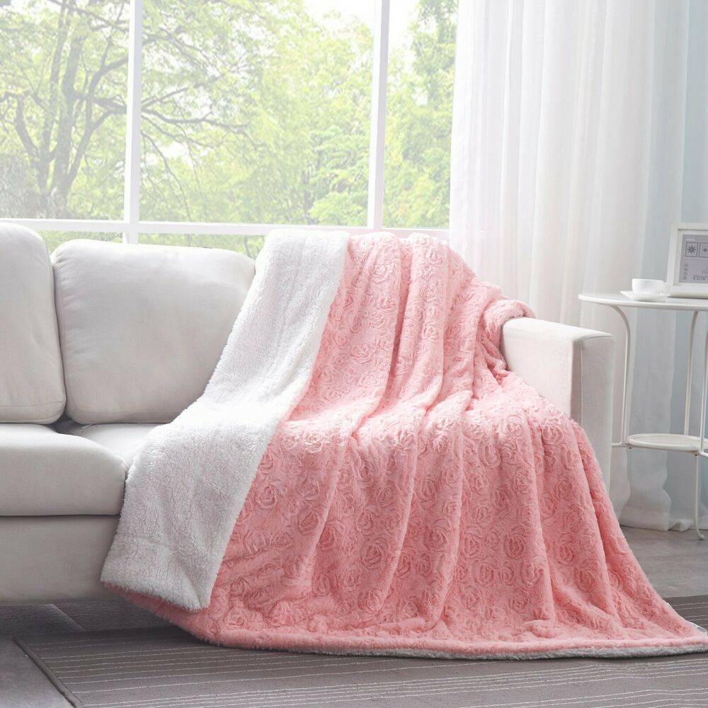 DaDa Bedding Luxury Rosey Baby Pink Floral Soft Warm Faux