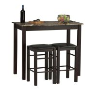 Small Kitchen Table with Stools Tall Set for 2 High ...