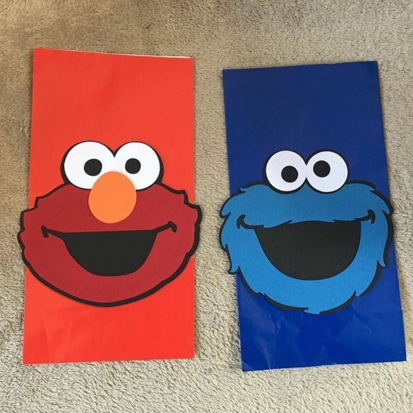 Elmo Cookie Monster Party Favor Bags. Set Of 12. Great