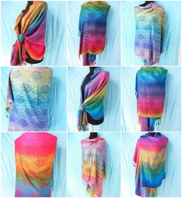 Seller Lot Of 10 Rainbow Paisley Pashmina Scarf