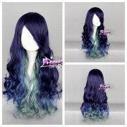 purple mixed blue green long curly
