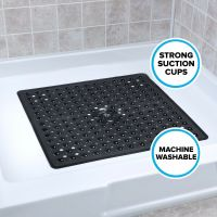 Large Non-Slip Shower Mat with Drain Holes: Black Square ...