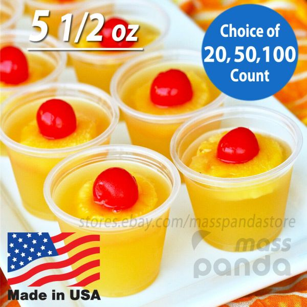 5 1 2 Oz Extra Large Jello Jelly Shot Portion Cups With Lids
