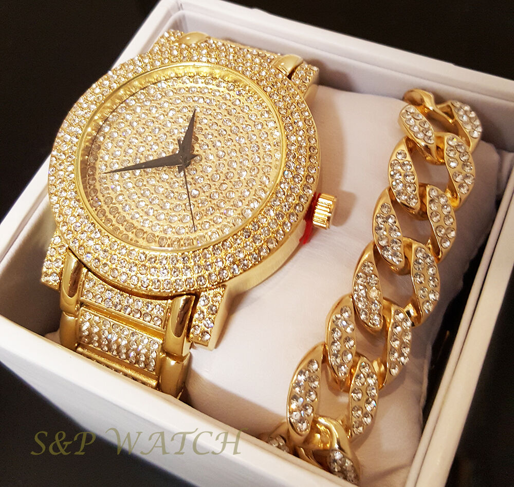 Mens Hip Hop Iced Out Rapper Bling Gold plated WATCH