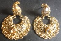South Indian Antique Gold Plated Kundan Jhumka Earrings ...