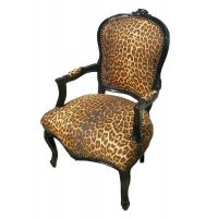 French Louis Chair In Leopard Print Fabric & Black Wooden ...