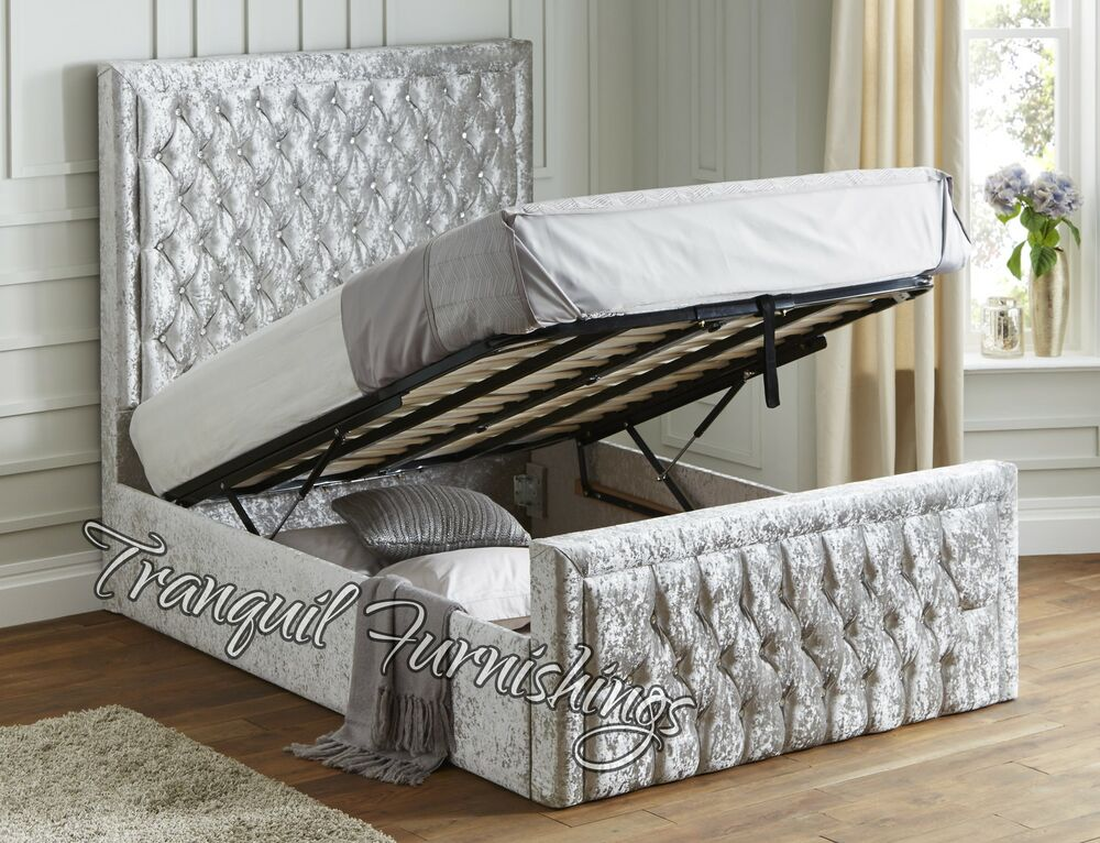 Filo Storage End Opening Ottoman Bed Upholstered in Velvet Double King Size Bed  eBay