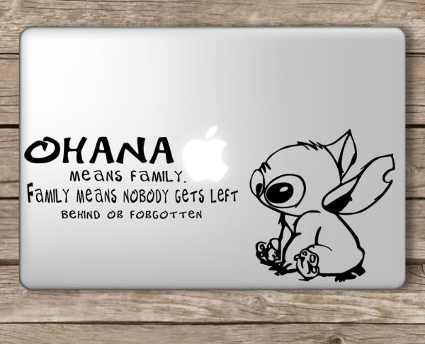 Stitch Ohana Means Family Disney Apple Macbook Laptop