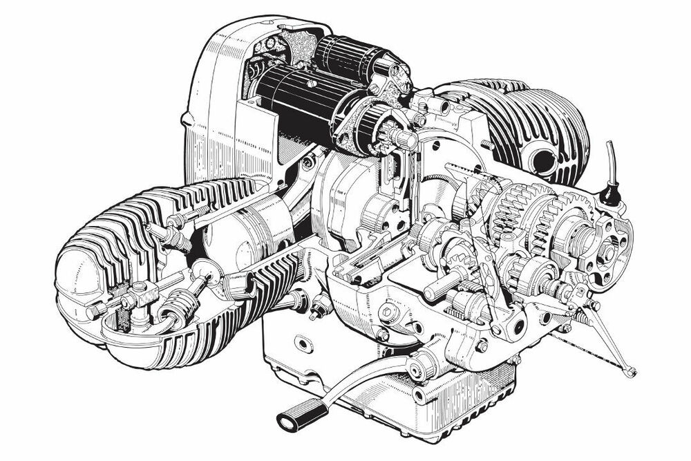 1969 BMW /5 MOTORCYCLE ENGINE CUTAWAY POSTER PRINT 24x36