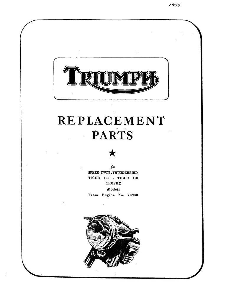 Triumph Parts Manual Book 1956 T110 TIGER 110, TR5 TROPHY