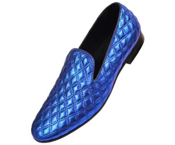 Amali Mens Royal Blue Metallic Chinese Smoking Slipper Dress Shoe Clawson-052
