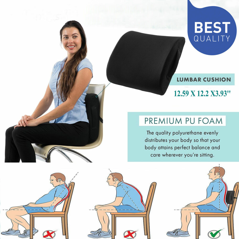 lumbar support office chair cushion african tribal birthing great memory foam seat back pillow home car | ebay