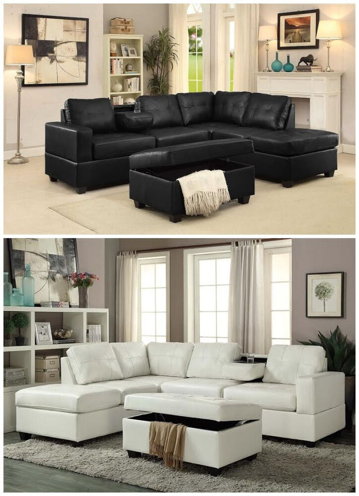Brand New Pu Leather Living Room Reversible Sectional Sofa