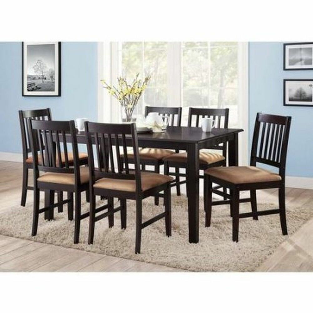 5 piece kitchen table sets black pull down faucet brand new 7pc espresso dining room set 6 ...