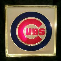 Lighted Chicago Cubs Glass Block Light~ Home Decor~Gift