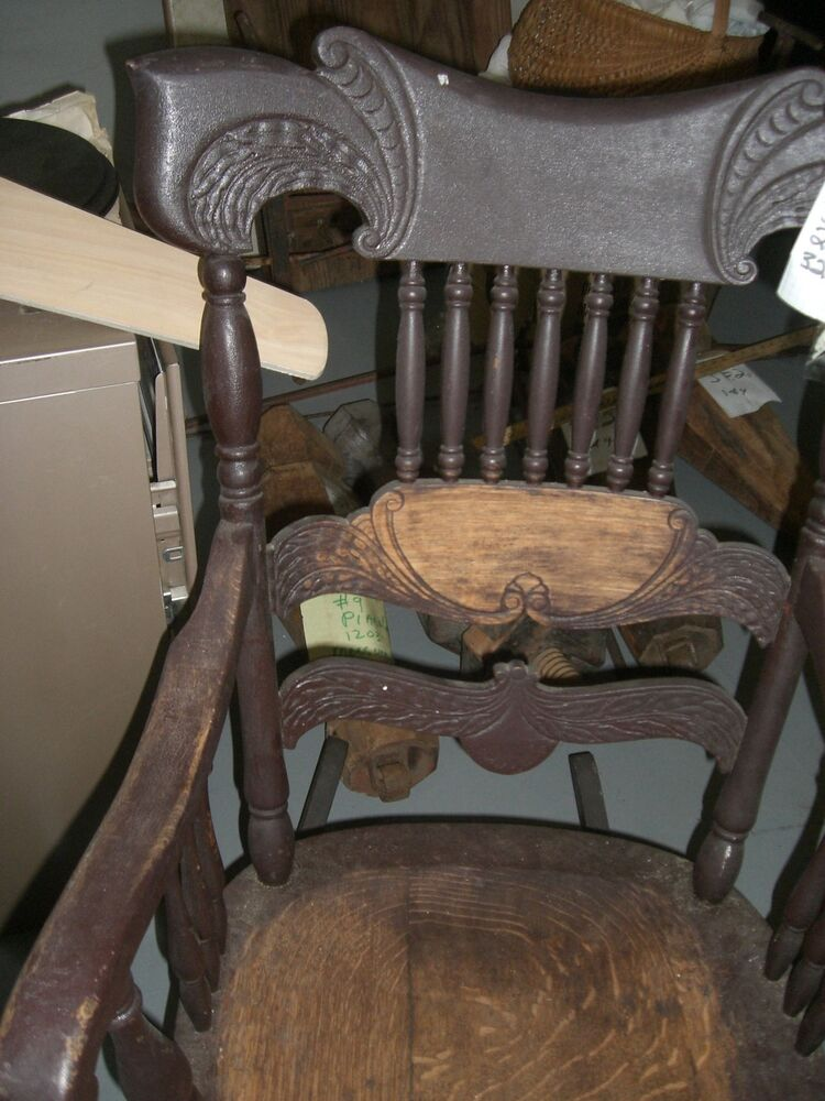 Antique Rocking rocker chair carved wing curved back