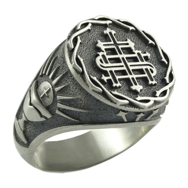 Jesuit Silver Men Ring Society Of Jesus . Ihs Holy