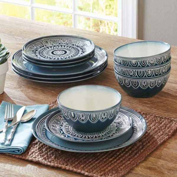 Homes And Gardens Teal Medallion 12-piece Dinnerware Set