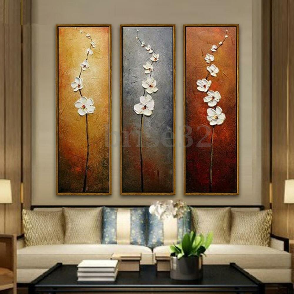 3Pcs Colorful Flower Canvas Abstract Painting Print Art Wall Home Decor Unframed  eBay