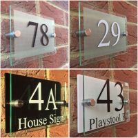 MODERN HOUSE SIGN PLAQUE DOOR NUMBER STREET GLASS EFFECT ...
