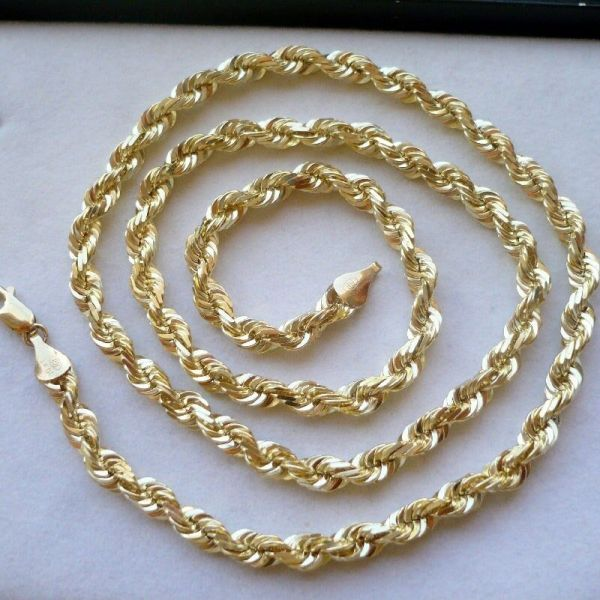 4.5mm 10k Solid Gold Men' Diamond Cut Rope Chain Necklace
