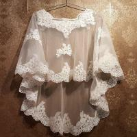 white/ivory lace Applique with beaded Cape Wrap Shrug ...