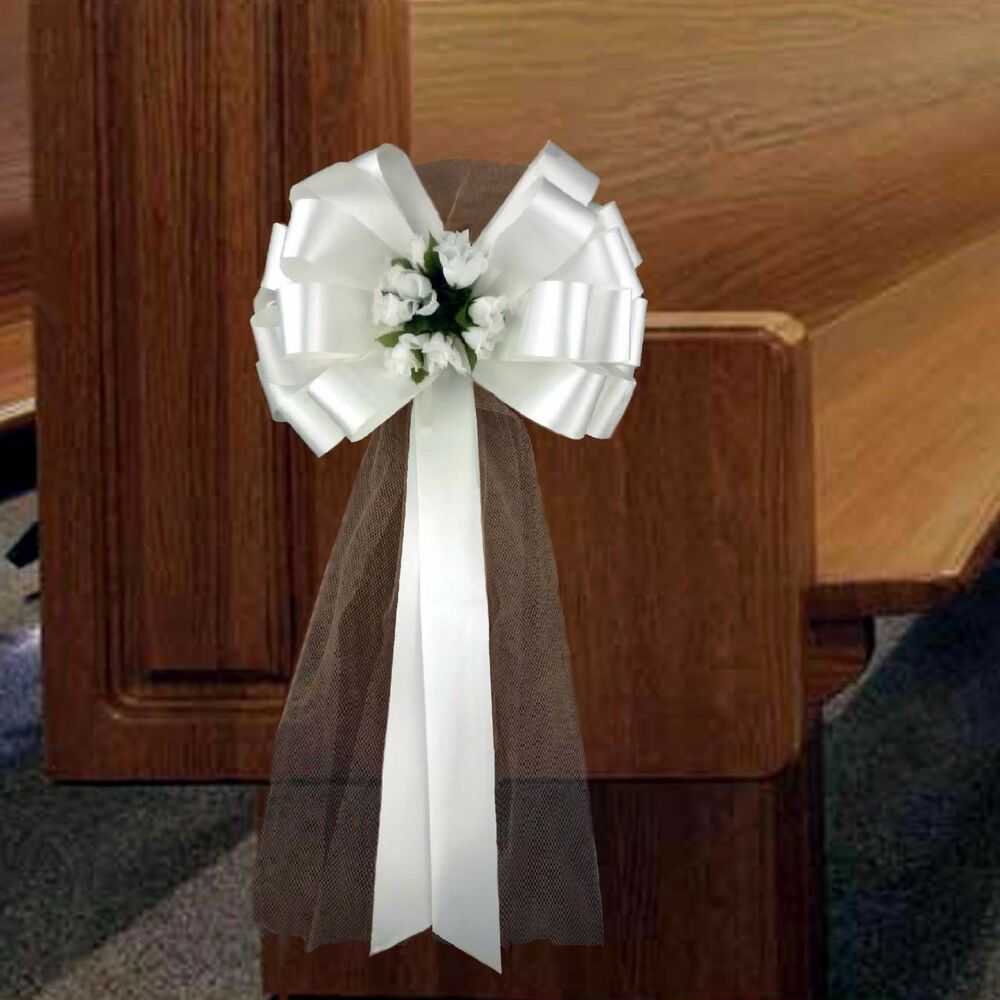 6 White Pull Pew Bows Tulle Rosebuds Church Wedding