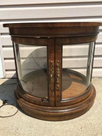 Vintage Mid Century Round Wood Curved Glass Lighted ...