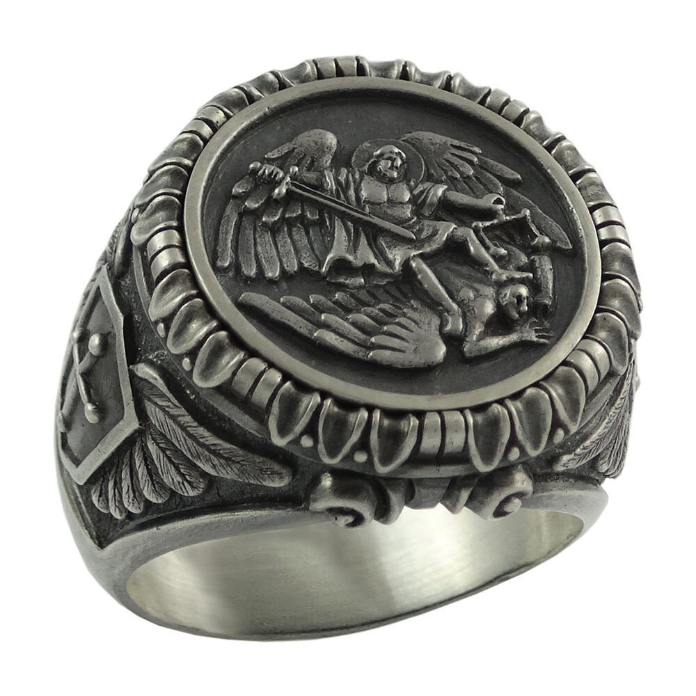 Saint St Michael Archangel Silver mens Ring Handcrafted US