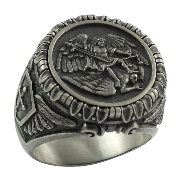 Saint St Michael Archangel Silver Mens Ring Handcrafted