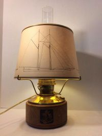Vintage Aladdin Mantel Lamp Mariner Sailboat Paper Shade
