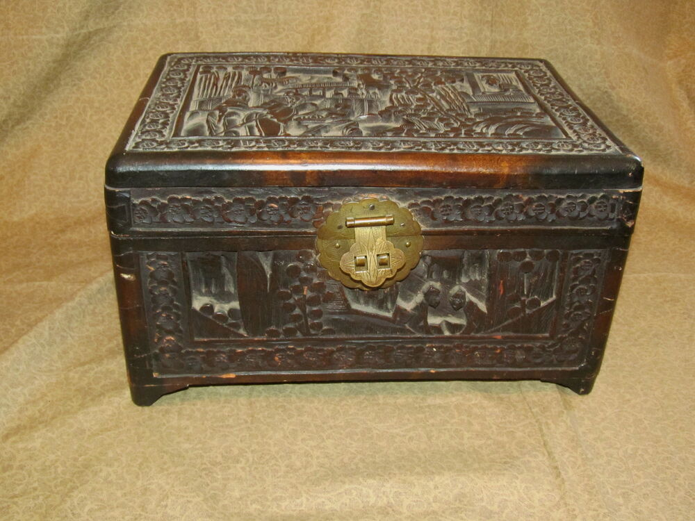 Old Or Antique Carved Chinese Chest Small EBay