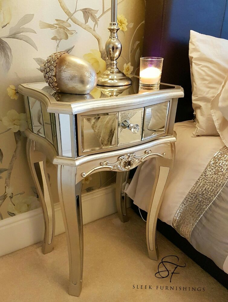Pair Of Mirrored Bedside Tables Mirrored Bedroom Furniture Side Table Cabinet  eBay