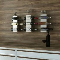 Wall Hanging Wine 3 Bottles Rack Storage Holder Wood Metal