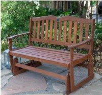 Outdoor Wooden Bench Glider Rocking Gliding Porch Love ...