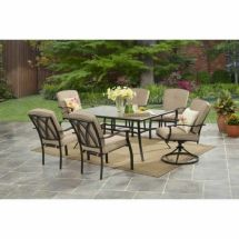 Patio Dining Set 7 Piece Outdoor Furniture Table 6 Beige