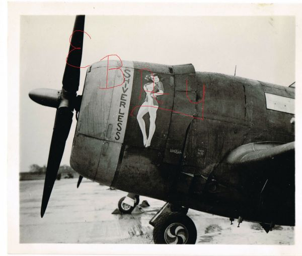 Wwii 8x10 Of Usaaf -47 Thunderbolt Nose Art Named