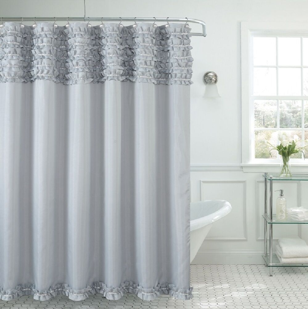 Beverly Hills Ruffle Premium Quality Fabric Shower Curtain 70x72 Gray Silver  eBay