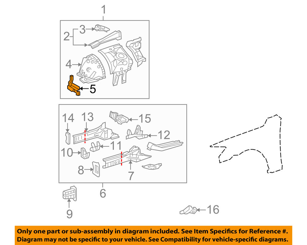 hight resolution of details about lexus toyota oem 06 15 is250 fender front panel support right 5325753020