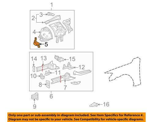 small resolution of details about lexus toyota oem 06 15 is250 fender front panel support right 5325753020
