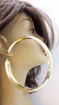 LARGE TEXTURED HOOP EARRINGS 4 INCH GOLD OR SILVER TONE ...