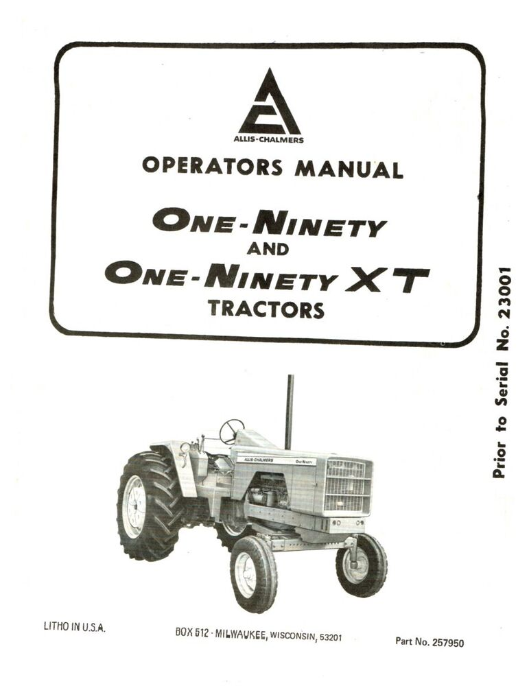 190 and 190 XT Allis Chalmers Tractor Operators Manual AC