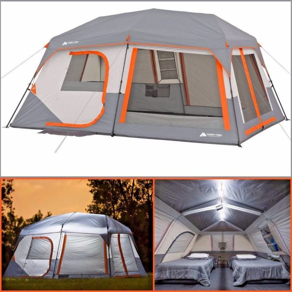 Ozark Trail 10 Person 2 Room Instant Cabin Tent Led Light Poles Family Camping 5602756906626