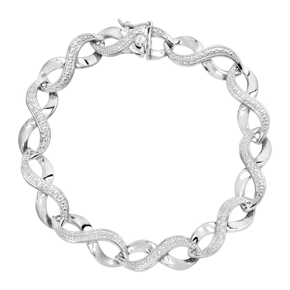 Infinity Link Bracelet with Diamond in Sterling Silver
